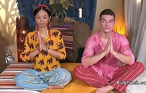 Asian yoga teacher licked together with fucked