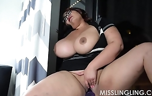 Oriental Leader BBW Plays With Pussy Looking Extensively Window-pane