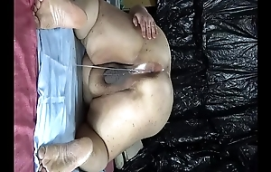 """Fat Japanese """"_Shino""""_ exposes the show to drip semen from anal pussy."""