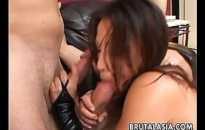 Annihilating the brunette bitch in a double penetration video