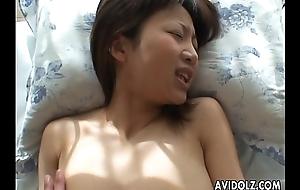 Asian slut has a fuck deep regarding her muddied pussy pie