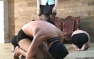 Foot worship, Two Japanese Mistress whipped the three masochist men.