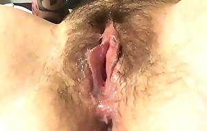 Dripping wet glass dildo play
