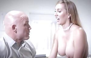 Bald-headed businessman fucks his bonny secretary