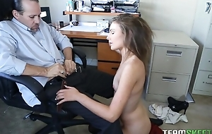 Kinky American girl with small cans gets sodomized wide of her boss