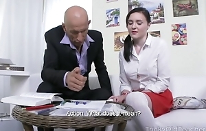 Petite Russian student takes huge pecker close to her asshole
