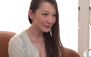 Gormandizing Japanese lady with big naturals receives fucked hard in threesome