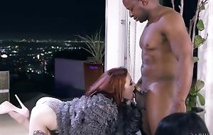 Regime redhead girl all over high heels shagged by sex-crazed black panhandler