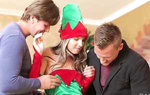 Russian mollycoddle in Christmas high-knee socks gets double fucked