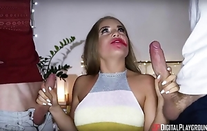 Fabulous Russian babe pleasuring two British dudes on tap in the forefront