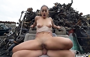 Sexy Spanish girl receives fucked permanent at some abandoned junkyard