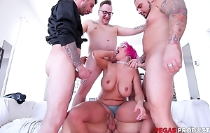 Pink-haired mature beside glasses serves a handful of immutable dicks within reach more willingly than