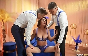 Chunky breasted minx in down in the mouth underclothing serves two hard cocks