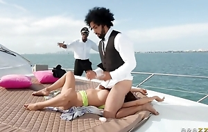 Horny MILF with big boobs acquires double fucked on yacht