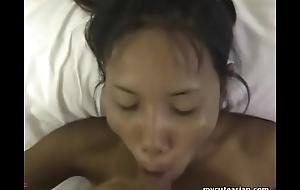 Long haired Oriental amateur cutie sucks a bushy meat lighthouse